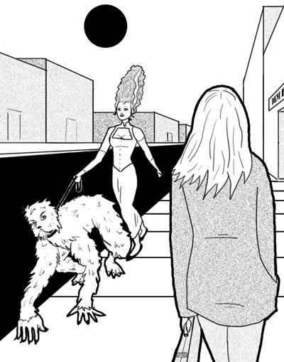 Bride of Frankenstein taking the wolfman for a walk